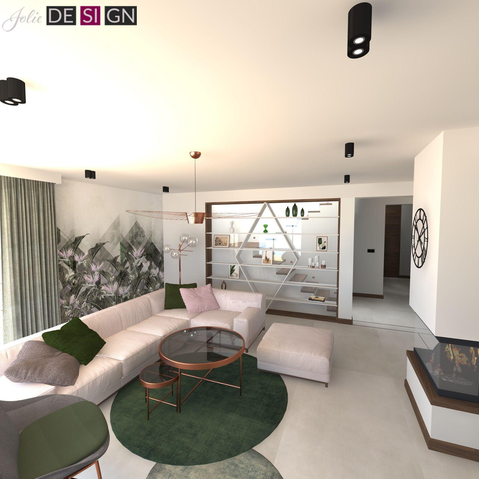 salon z sofą i okrągłym dywanem