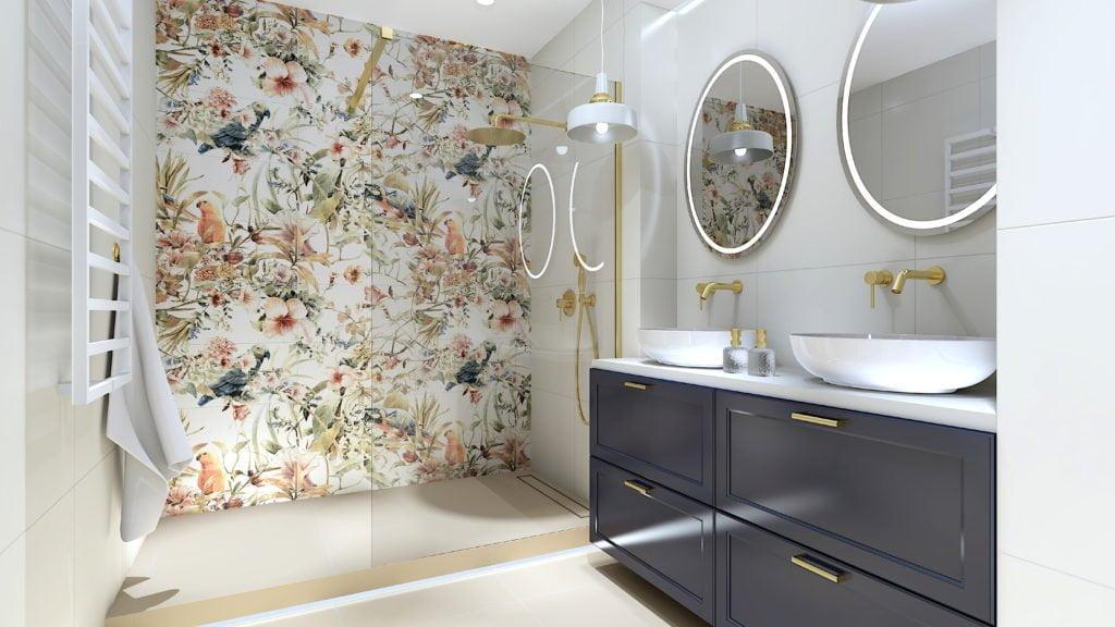 Projekt łazienki w stylu Glamour /Rokoko
