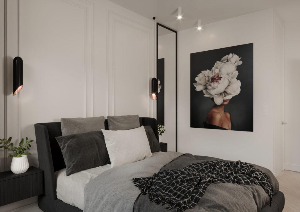 Czarno biała sypialnia