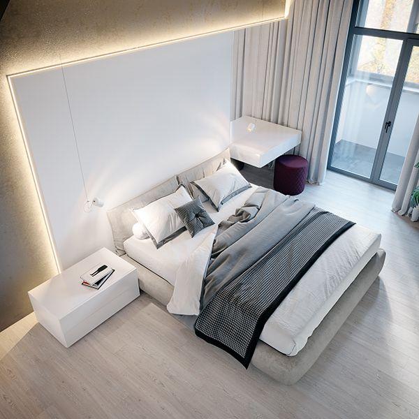 sypialnia ze ścianą betonową