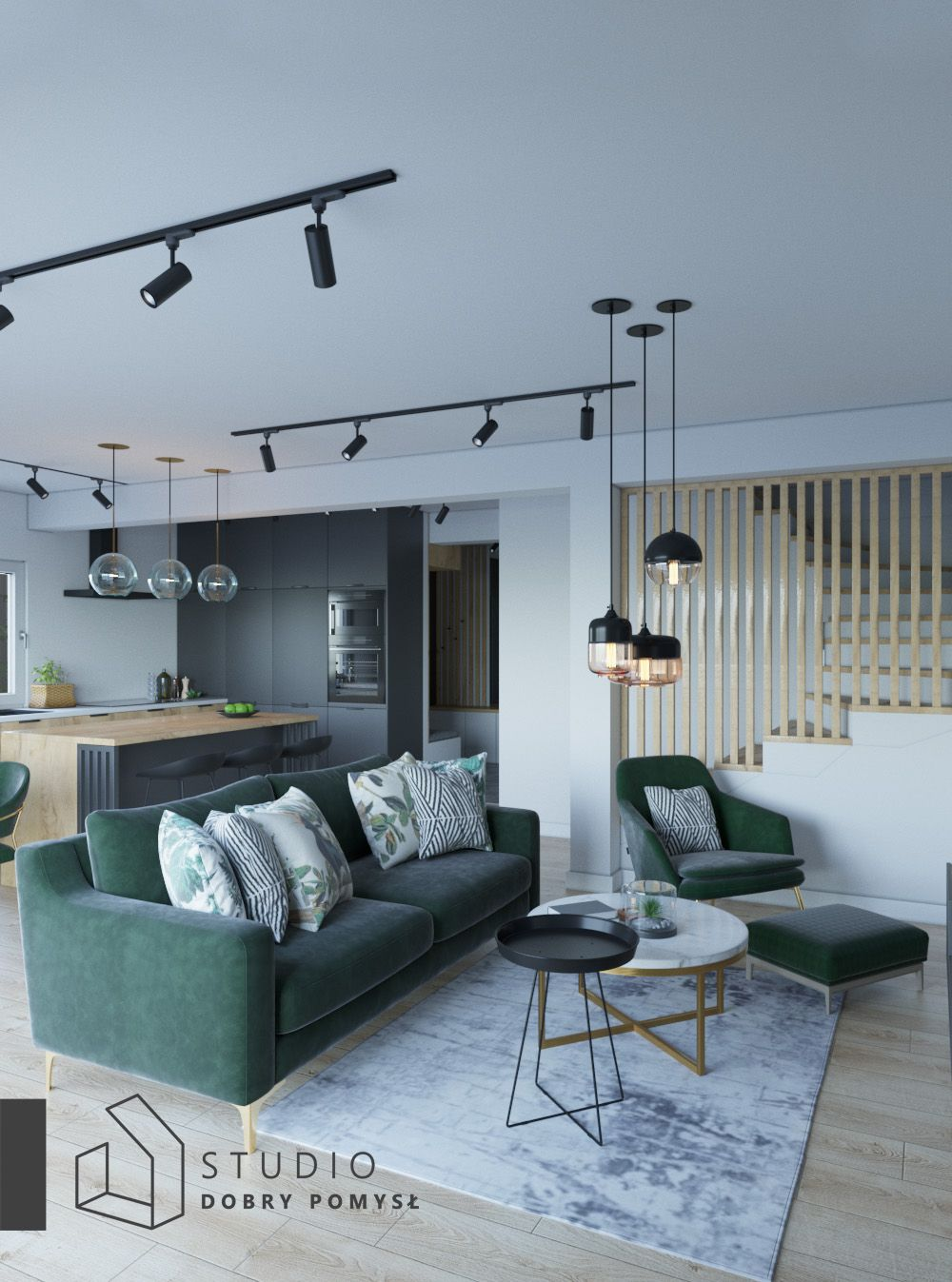 nowoczesny salon z zieloną sofą