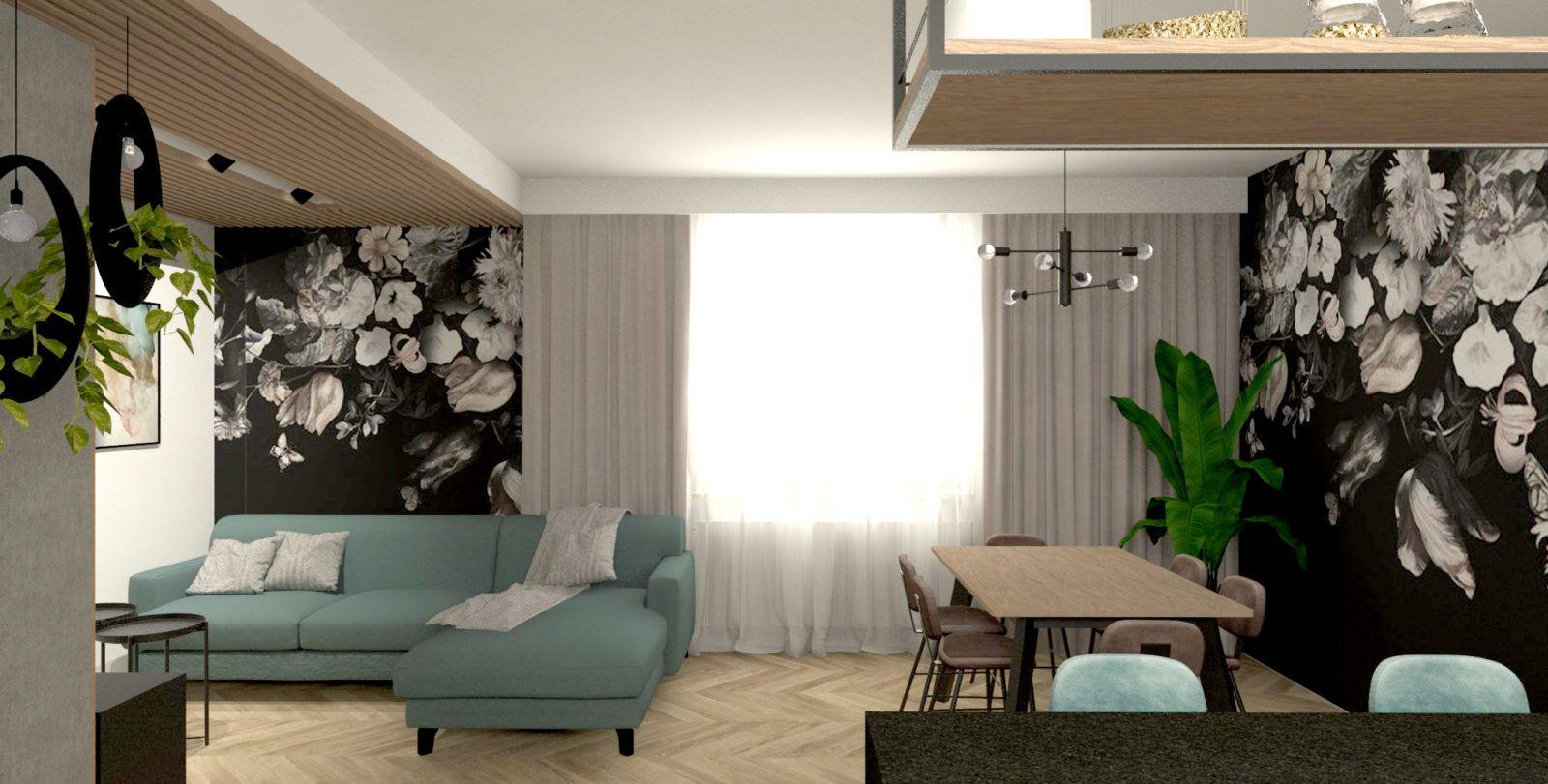 salon z fototapetą w kwiaty i niebieska sofa