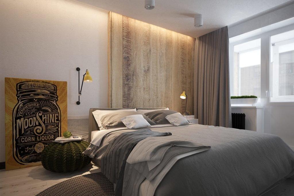 Drewno w sypialni w stylu skandynawskim