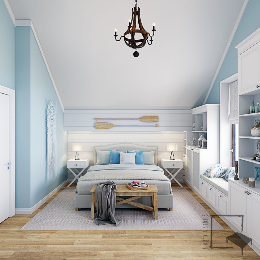 Jasno niebieska sypialnia