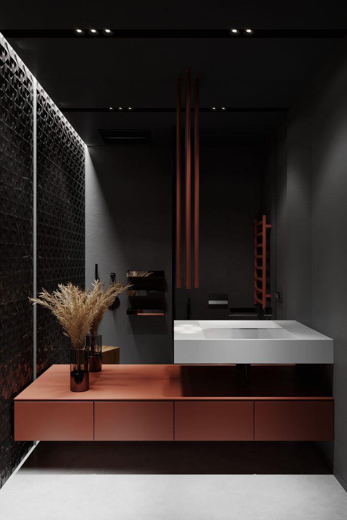Eleganckie mieszkanie z kolorem bordowym